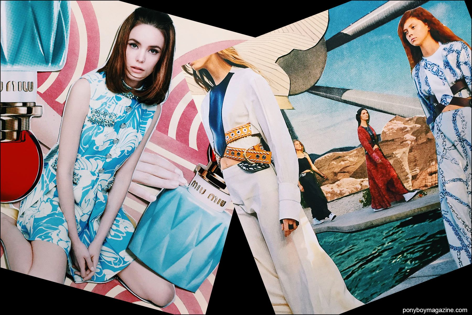 Collage artwork of Miu Miu and Louis Vuitton images by Patrick Keohane for RS Theory. Ponyboy magazine NY.