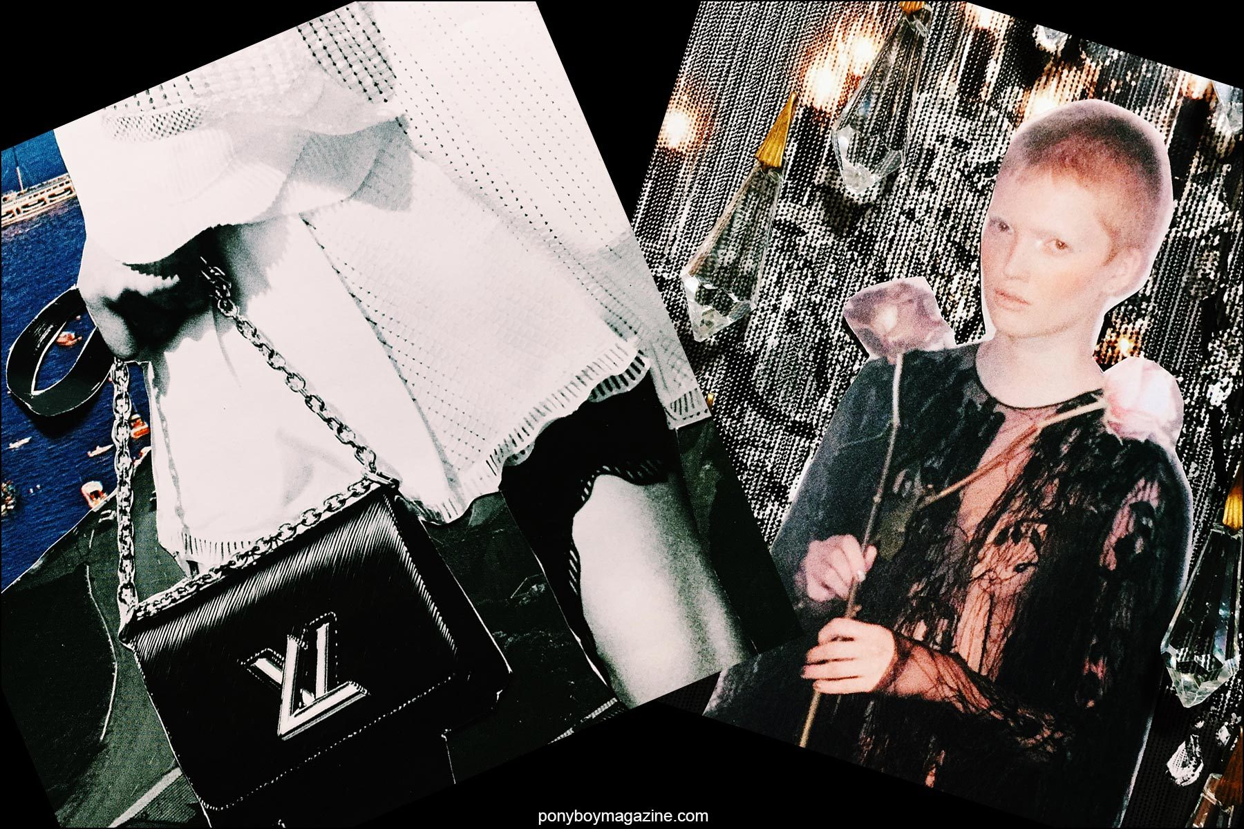 Collage artwork of Louis Vuitton and Alexander McQueen images by Patrick Keohane for RS Theory. Ponyboy magazine NY.