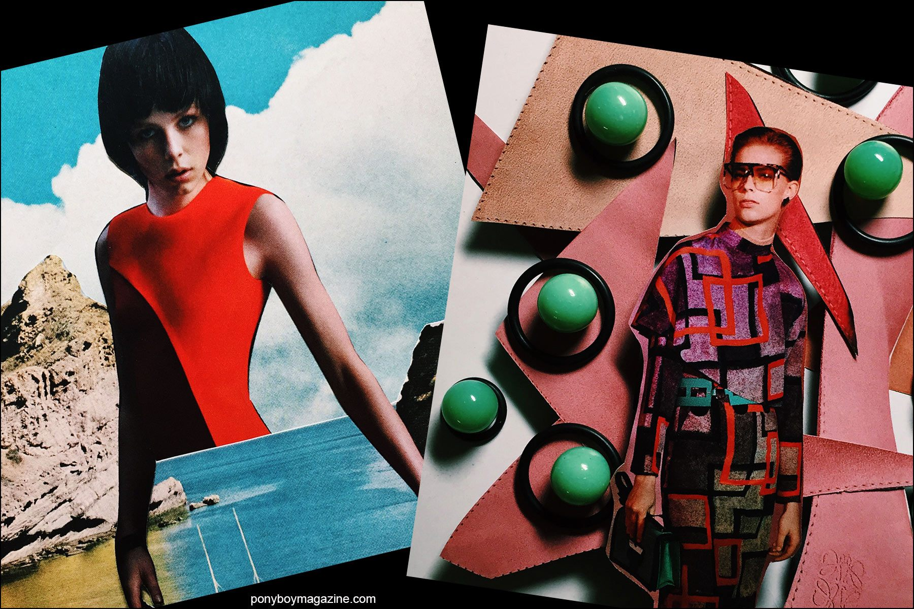 Collage artwork of Hugo Boss and Loewe images by Patrick Keohane for RS Theory. Ponyboy magazine NY.