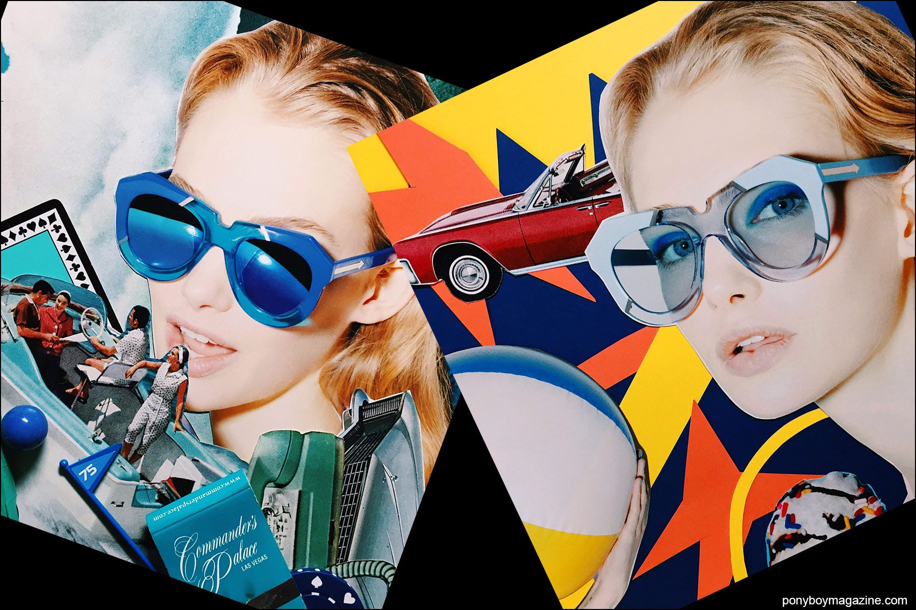 Collage artwork of Karen Walker images by Patrick Keohane for RS Theory. Ponyboy magazine NY.