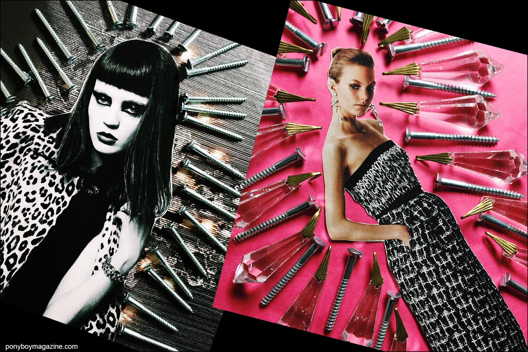Collage artwork of Saint Laurent and Balenciaga images by Patrick Keohane for RS Theory. Ponyboy magazine NY.
