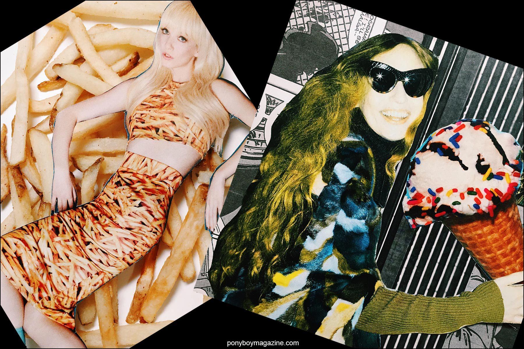 Collage artwork of french fry fashion image and Sonia Rykiel images by Patrick Keohane for RS Theory. Ponyboy magazine NY.