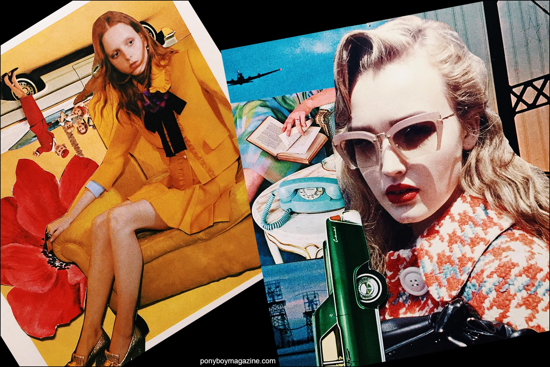 Collage artwork of Gucci and Miu Miu images by Patrick Keohane for RS Theory. Ponyboy magazine NY.