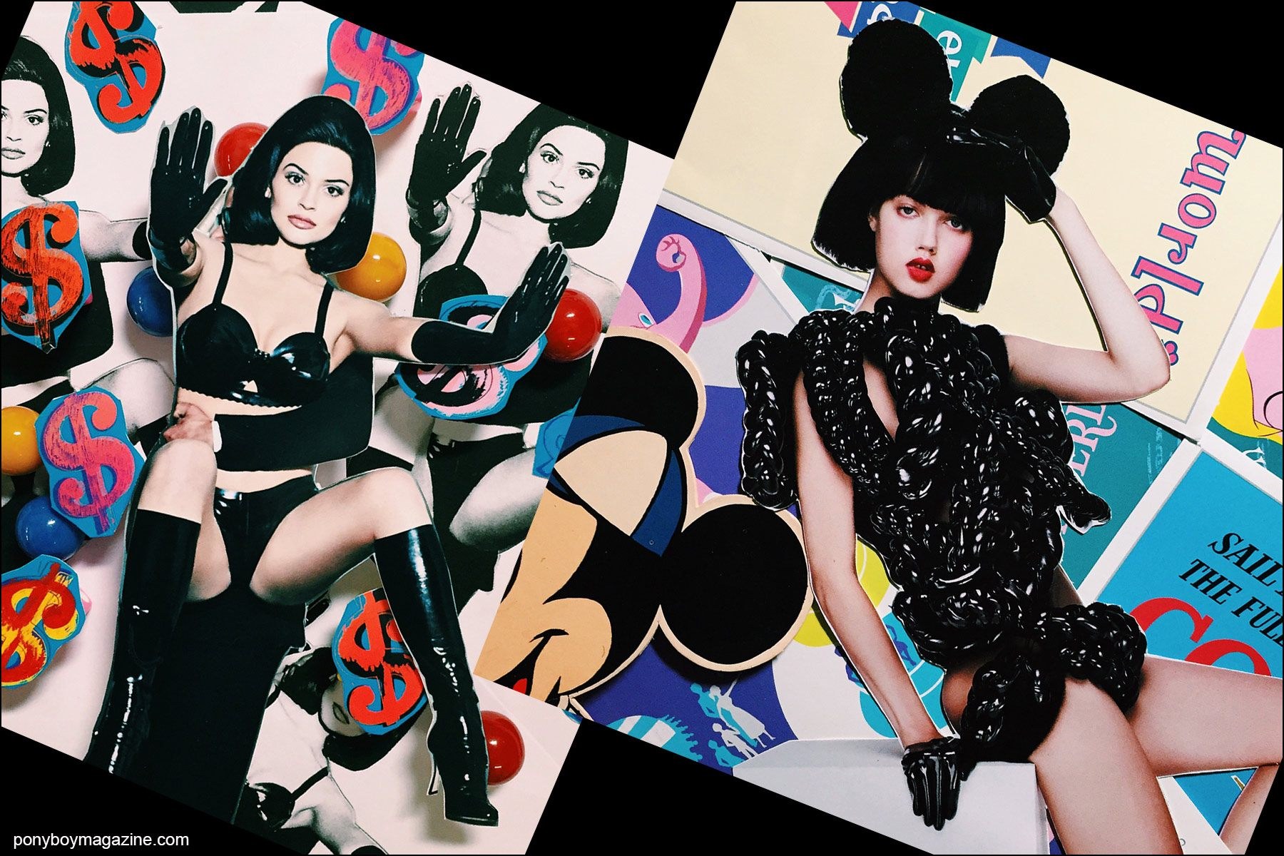 Collage artwork of Kylie Jenner and Lindsey Wixson images by Patrick Keohane for RS Theory. Ponyboy magazine NY.
