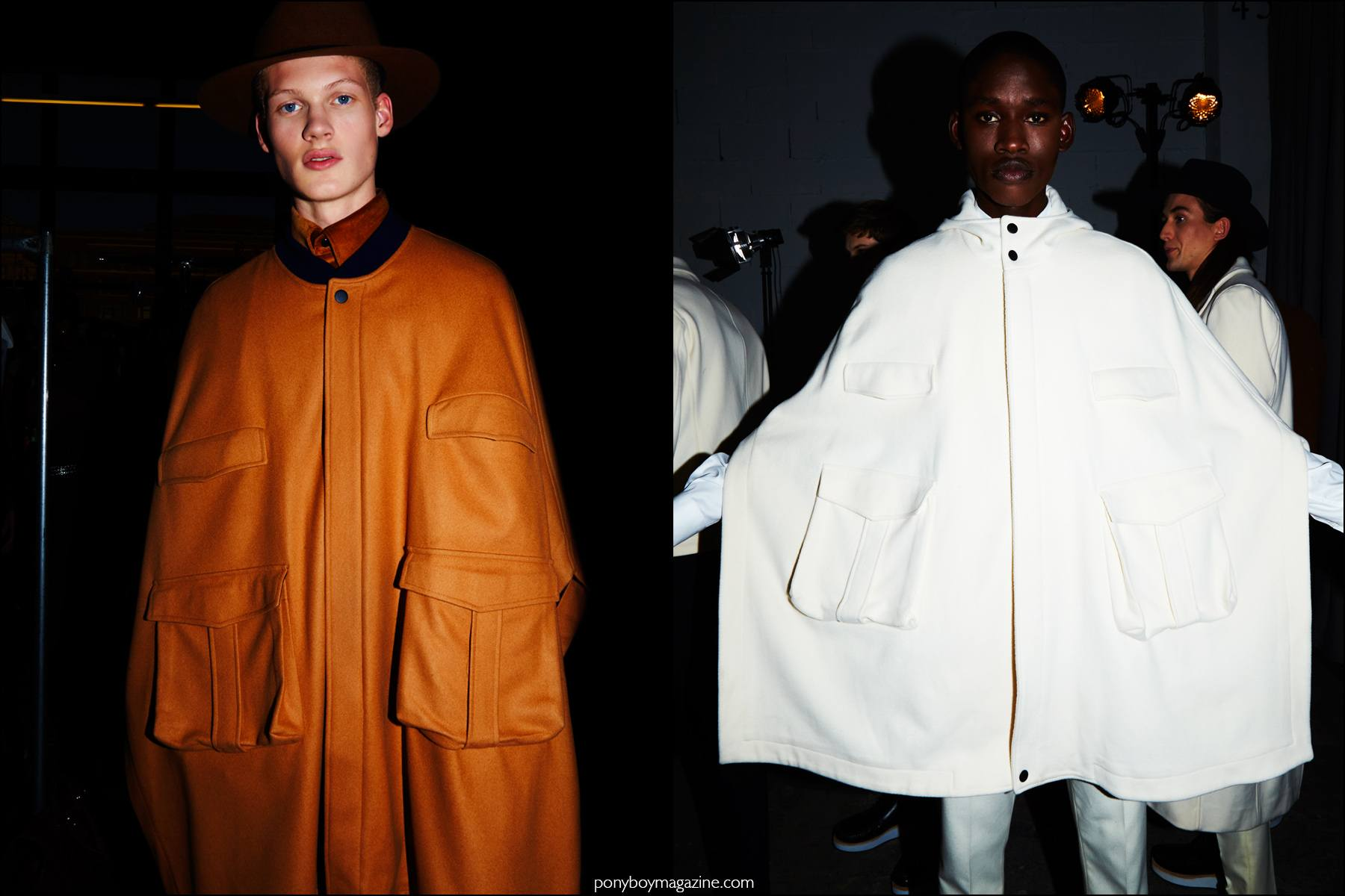 Male models Dillon Westbrock and Adonis Bosso photographed backstage at Carlos Campos F/W16 menswear show. Photographed by Alexander Thompson for Ponyboy magazine NY.
