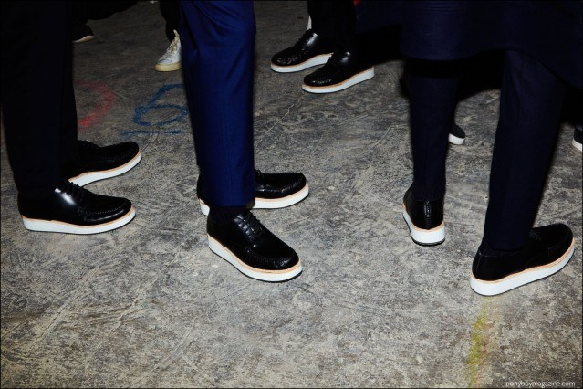 Trousers and shoes, backstage at Carlos Campos F/W16 menswear show. Photographed by Alexander Thompson for Ponyboy magazine.