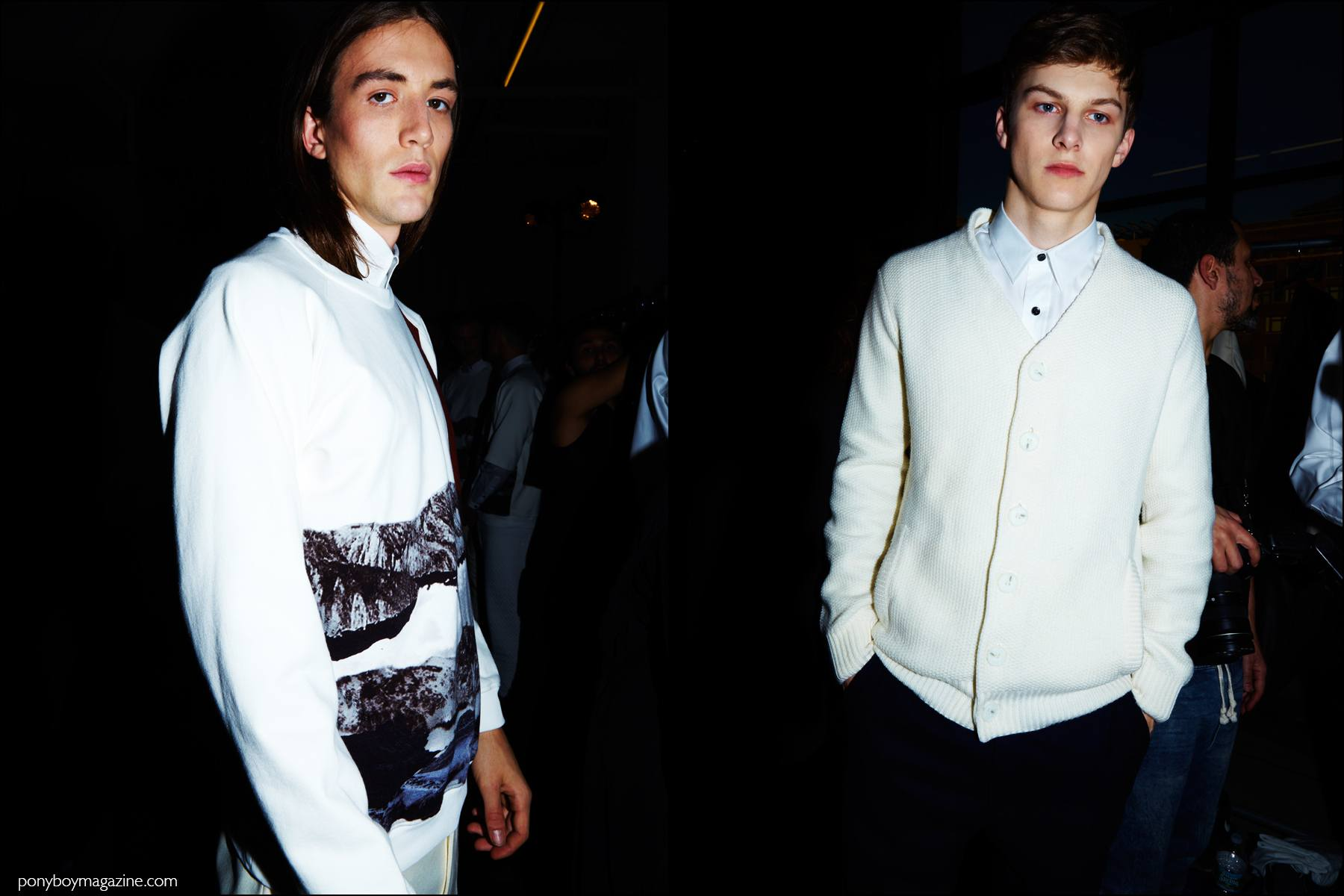 Male models in winter whites, photographed backstage at Carlos Campos F/W16 menswear show. Photography by Alexander Thompson for Ponyboy magazine NY.