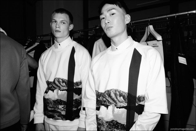 Male models Alijah Harrison and Noma Han snapped backstage at Carlos Campos F/W16 menswear show. Photography by Alexander Thompson for Ponyboy magazine.