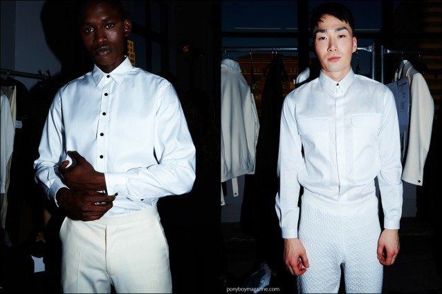 Male models photographed in winter white, backstage at the Carlos Campos F/W16 menswear show. Photography by Alexander Thompson for Ponyboy magazine.