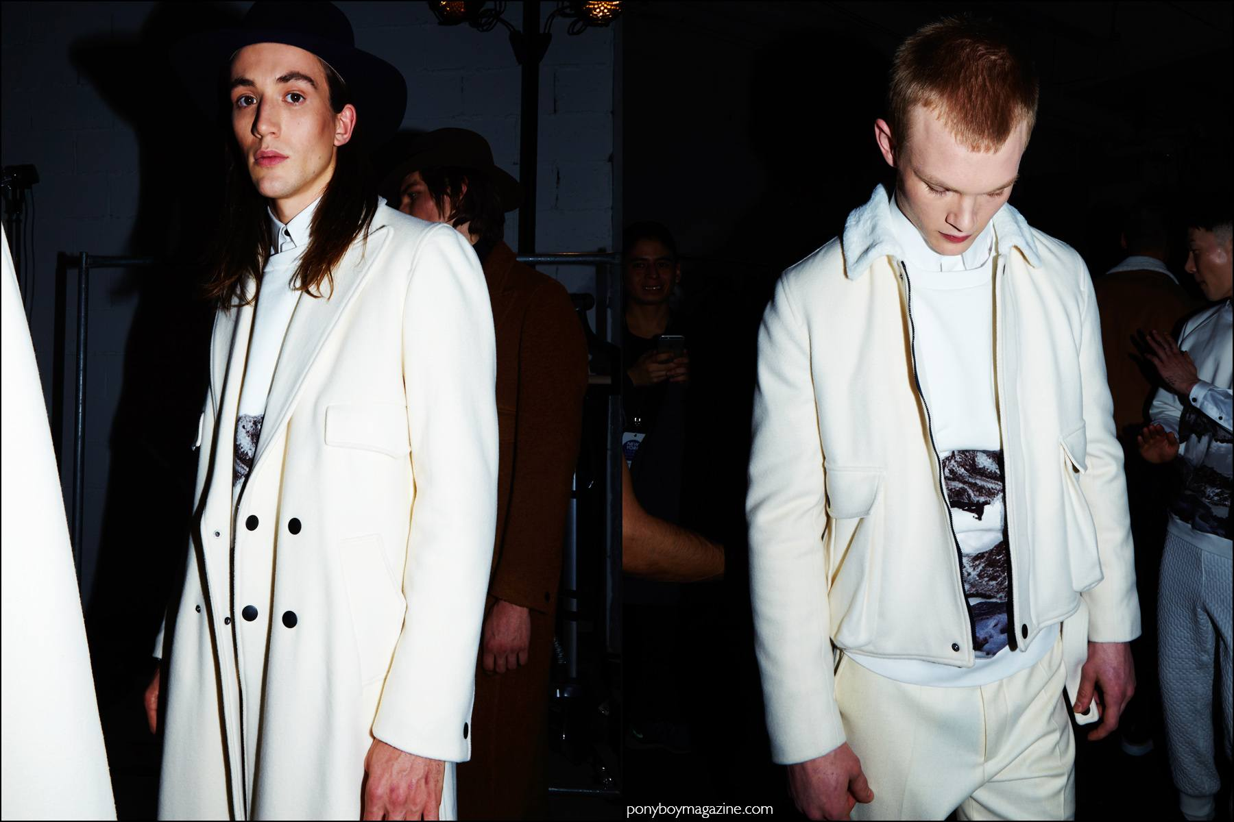 Models Lucian Clifforth and Alijah Harrison photographed in off-white menswear, photographed backstage at Carlos Campos F/W16 show. Photography by Alexander Thompson for Ponyboy magazine NY.