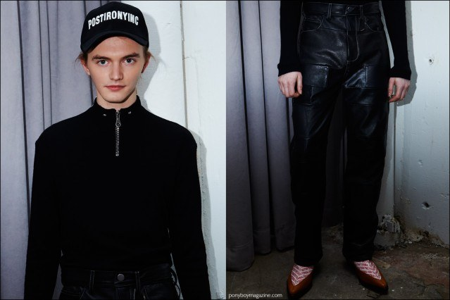 A male model photographed in a zip front top and leather trousers, backstage at Devon Halfnight Leflufy F/W16 menswear show. Photography by Alexander Thompson for Ponyboy magazine.