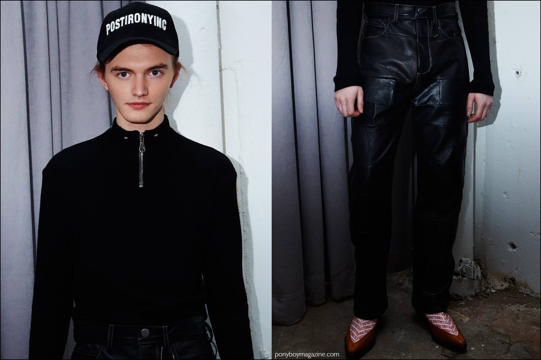 A male model photographed in a zip front top and leather trousers, backstage at Devon Halfnight Leflufy F/W16 menswear show. Photography by Alexander Thompson for Ponyboy magazine NY.