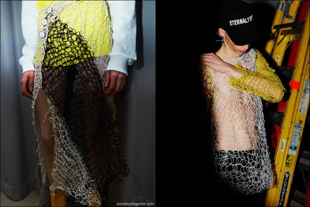 Detail shots of coiled plastic clothing, photographed backstage at Devon Halfnight Leflufy F/W16 menswear show. Photographed by Alexander Thompson for Ponyboy magazine.