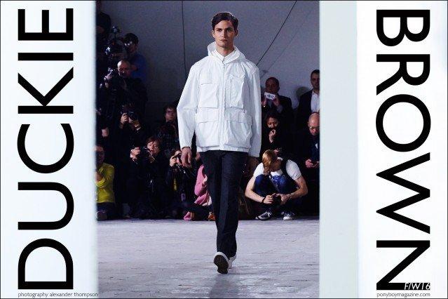 Male model Paul-Alexandre Haubtmann walks for Duckie Brown F/W16 menswear. Photography by Alexander Thompson for Ponyboy magazine.