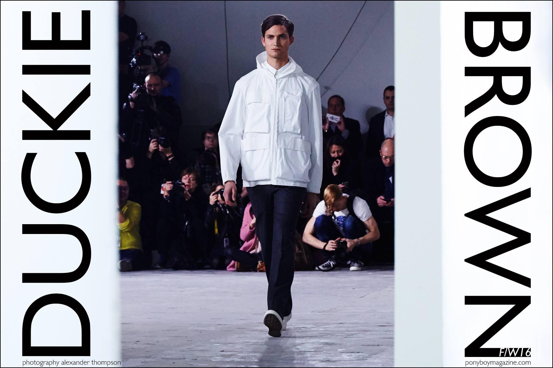 Male model Paul-Alexandre Haubtmann walks for Duckie Brown F/W16 menswear. Photography by Alexander Thompson for Ponyboy magazine NY.