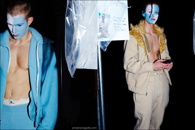 Male models photographed backstage in theatrical makeup and Gypsy Sport F/W16 menswear. Photography by Alexander Thompson for Ponyboy magazine.