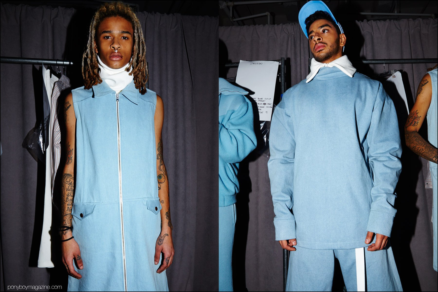 Baby-blue menswear designs, photographed backstage at Gypsy Sport F/W16. Photography by Alexander Thompson for Ponyboy magazine NY.