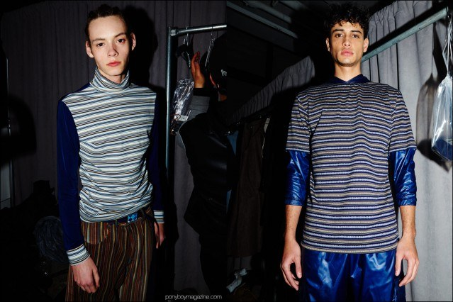 Striped menswear photographed backstage at Gypsy Sport F/W16 show. Photography by Alexander Thompson for Ponyboy magazine.