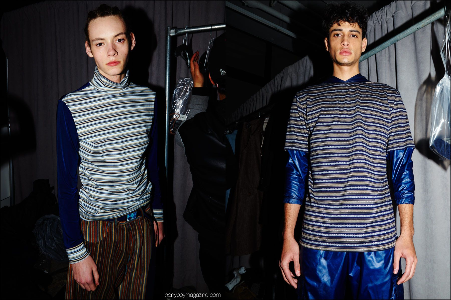 Striped menswear photographed backstage at Gypsy Sport F/W16 show. Photography by Alexander Thompson for Ponyboy magazine NY.