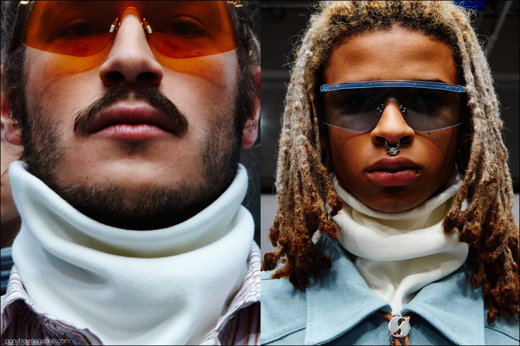 Sleek sunglasses photographed at Gyspy Sport F/W16 menswear presentation. Photography by Alexander Thompson for Ponyboy magazine NY.