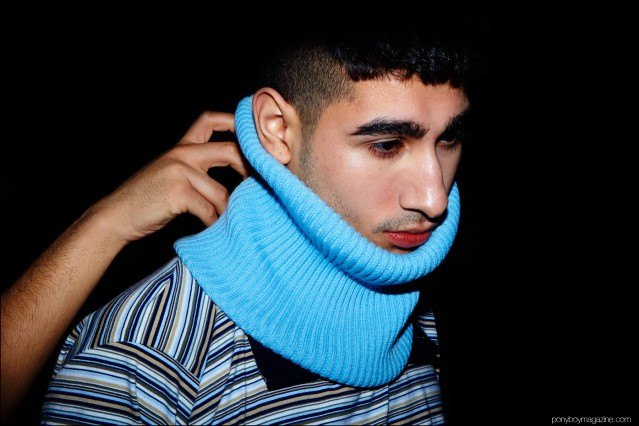 An oversized neck warmer photographed backstage at Gypsy Sport F/W16. Photography by Alexander Thompson for Ponyboy magazine.