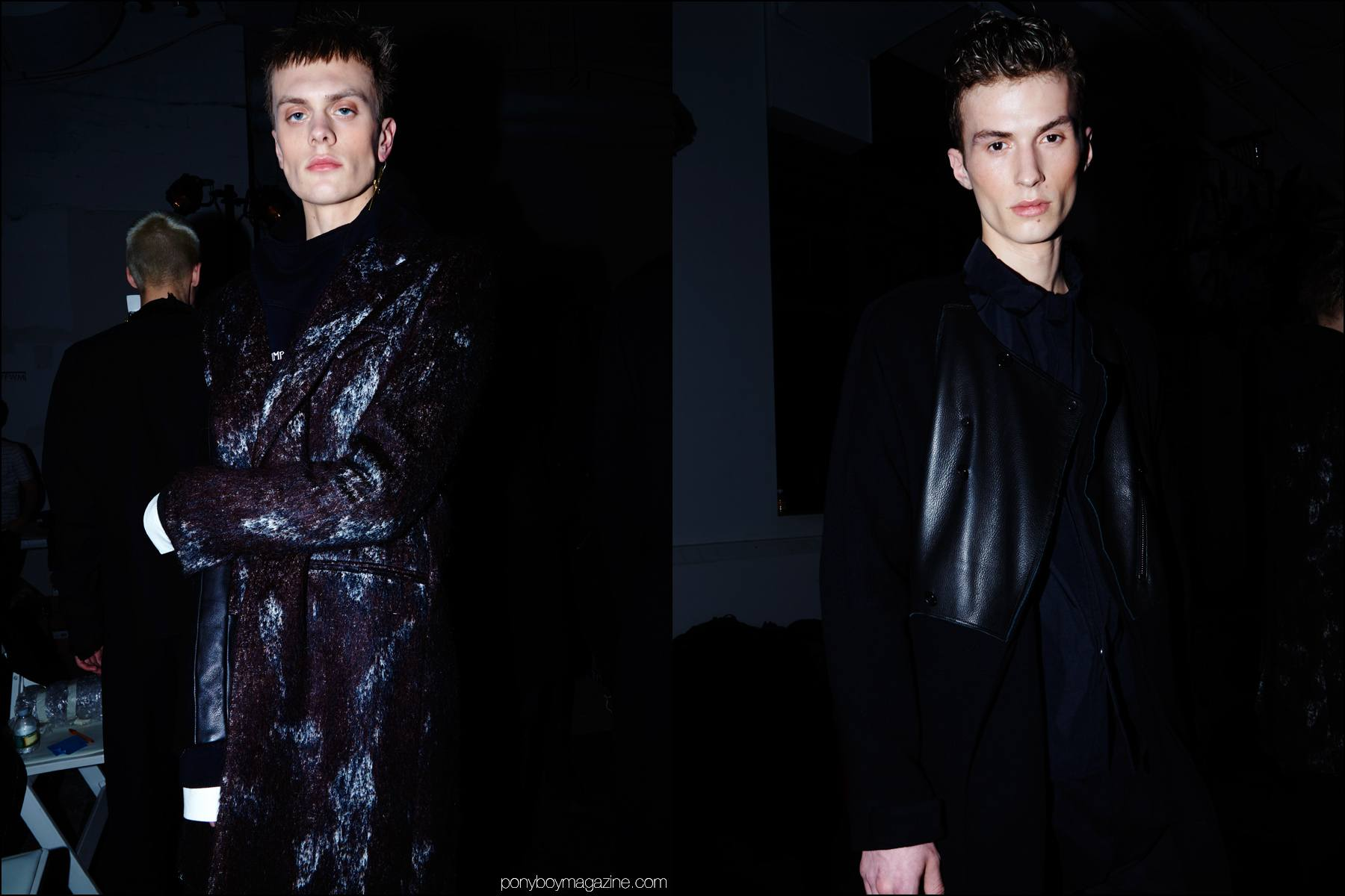 Male models Ian Welgarz and Zach Troost photographed backstage at Siki Im + Den Im F/W16 menswear show. Photography by Alexander Thompson for Ponyboy magazine NY.