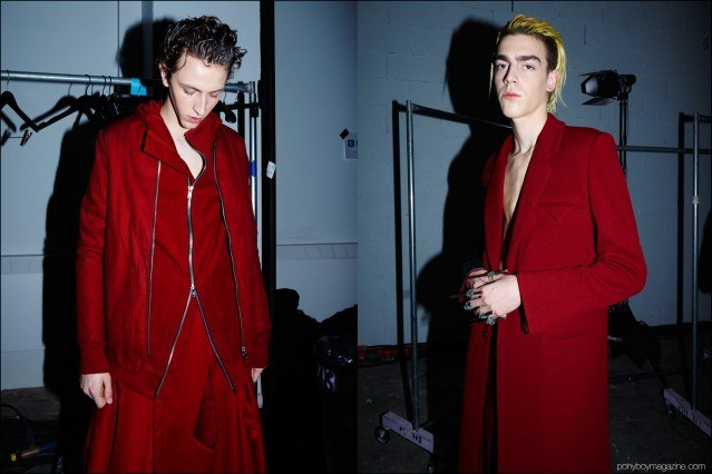 Male models Niels Trispel and Sean Kitchen photographed backstage in Siki Im + Den Im F/W16 menswear. Photography by Alexander Thompson for Ponyboy magazine.