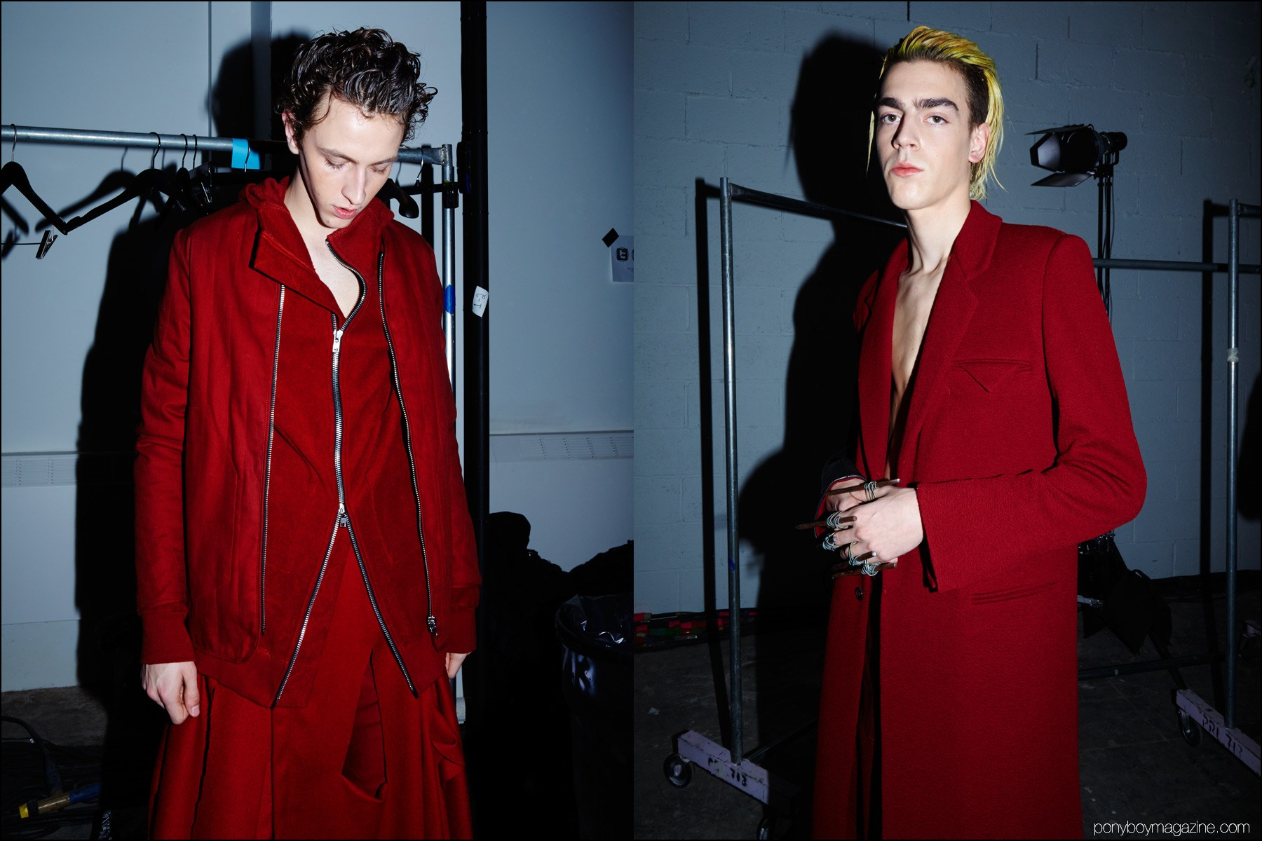 Male models Niels Trispel and Sean Kitchen photographed backstage in Siki Im + Den Im F/W16 menswear. Photography by Alexander Thompson for Ponyboy magazine NY.