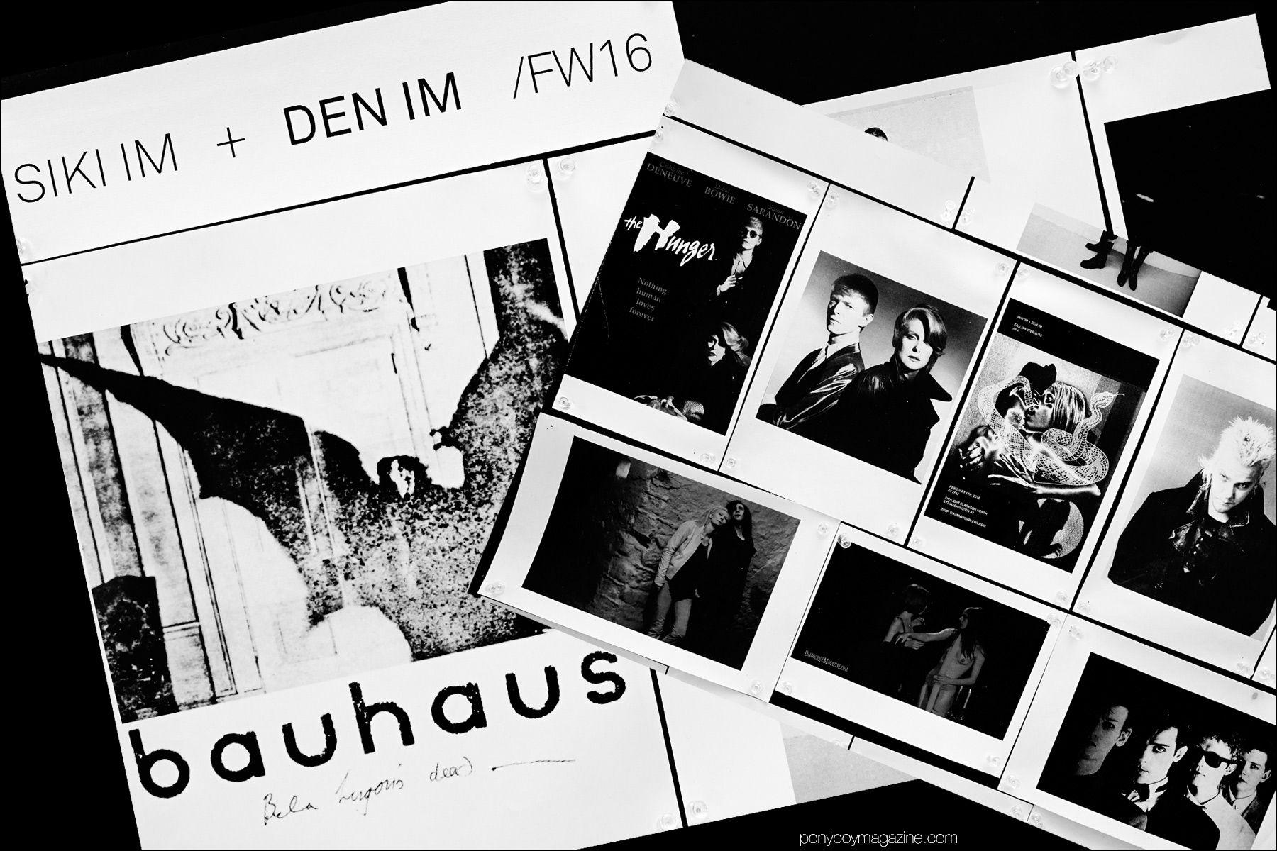 Inspiration/mood board backstage at Siki Im + Dem Im F/W16 menswear show. Photograph by Alexander Thompson for Ponyboy magazine NY.
