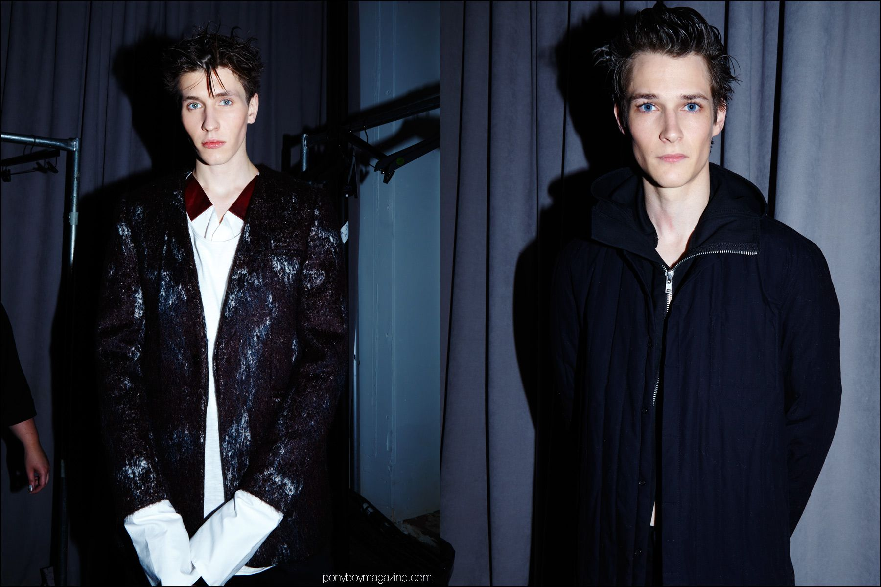 Male models photographed backstage in the latest designs by Siki Im + Den Im F/W16. Photography by Alexander Thompson for Ponyboy magazine NY.