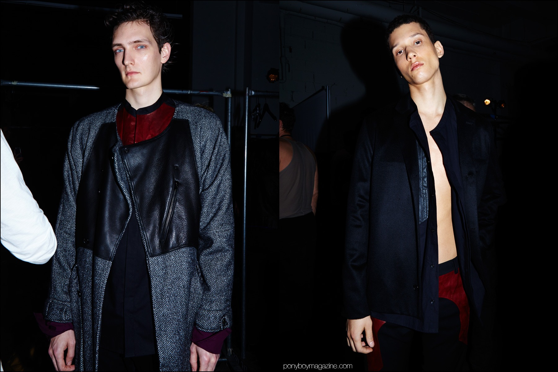 Male models Yannick Abrath and Abiah Hostvedt photographed backstage at Siki Im + Den Im F/W16 menswear show. Photography by Alexander Thompson for Ponyboy magazine NY.
