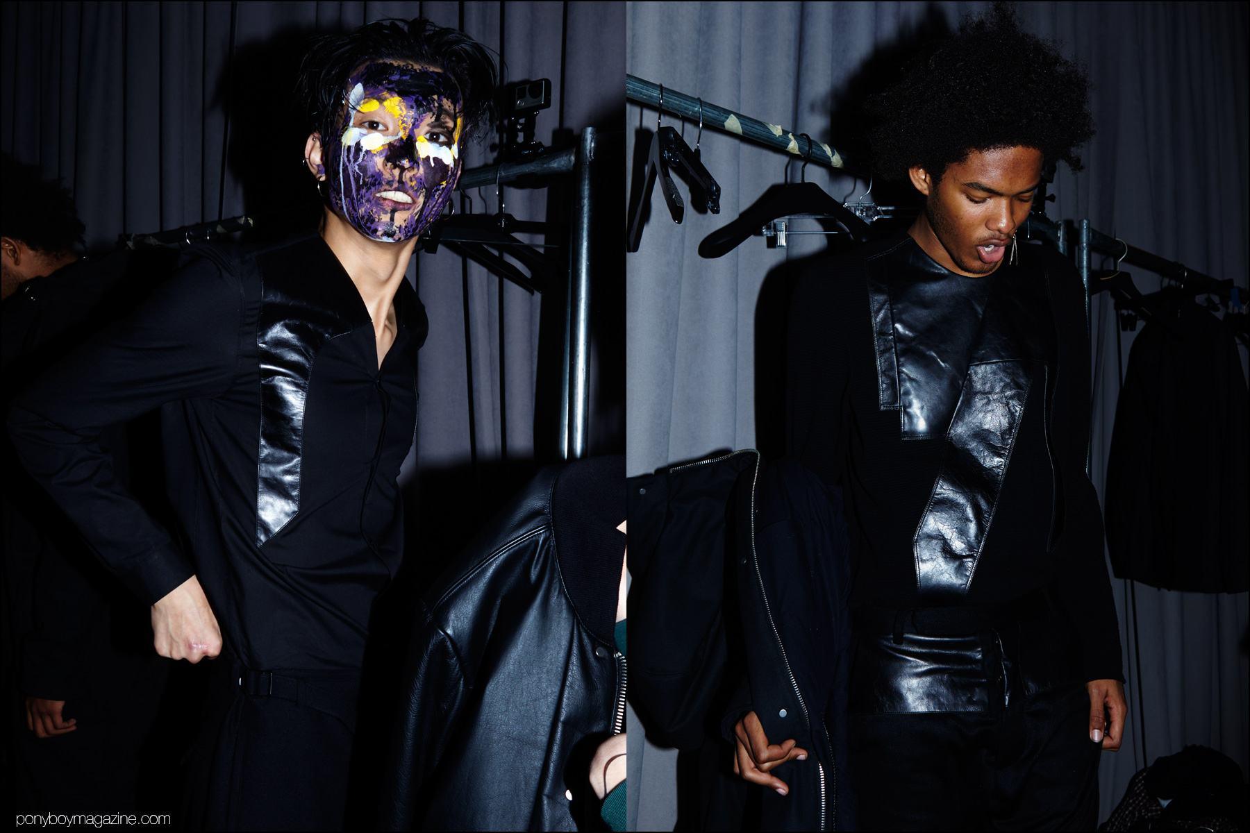 Model Brandon Bailey photographed backstage at Siki Im + Den Im F/W16 menswear show. Photography by Alexander Thompson for Ponyboy magazine NY.