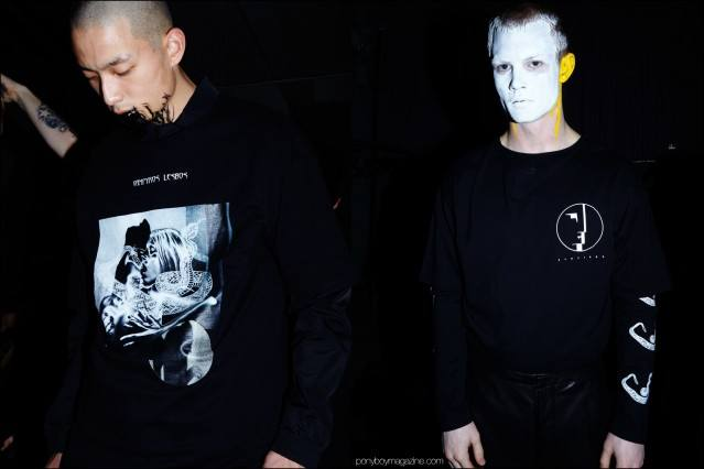 Male models in gothic t-shirts photographed backstage at the Siki Im + Den Im F/W16 menswear show. Photography by Alexander Thompson for Ponyboy magazine.