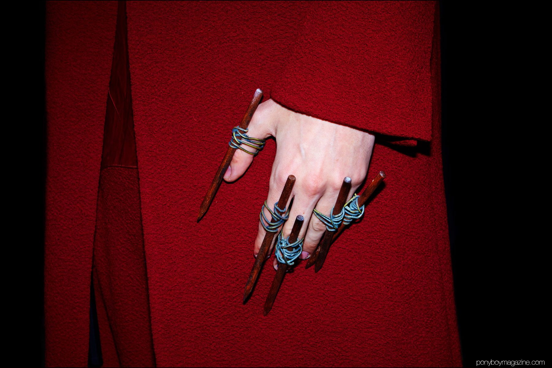 Detail shot of jewelry at the Siki Im + Den Im F/W16 menswear show. Photograph by Alexander Thompson for Ponyboy magazine NY.
