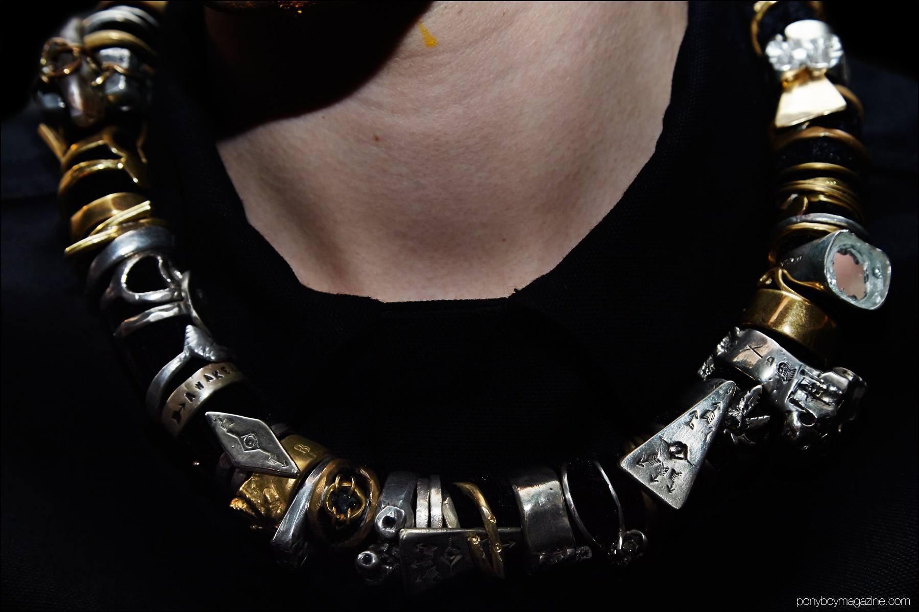 Detail shot of men's necklace, worn backstage at Siki Im + Den Im F/W16 menswear show. Photograph by Alexander Thompson for Ponyboy magazine NY.