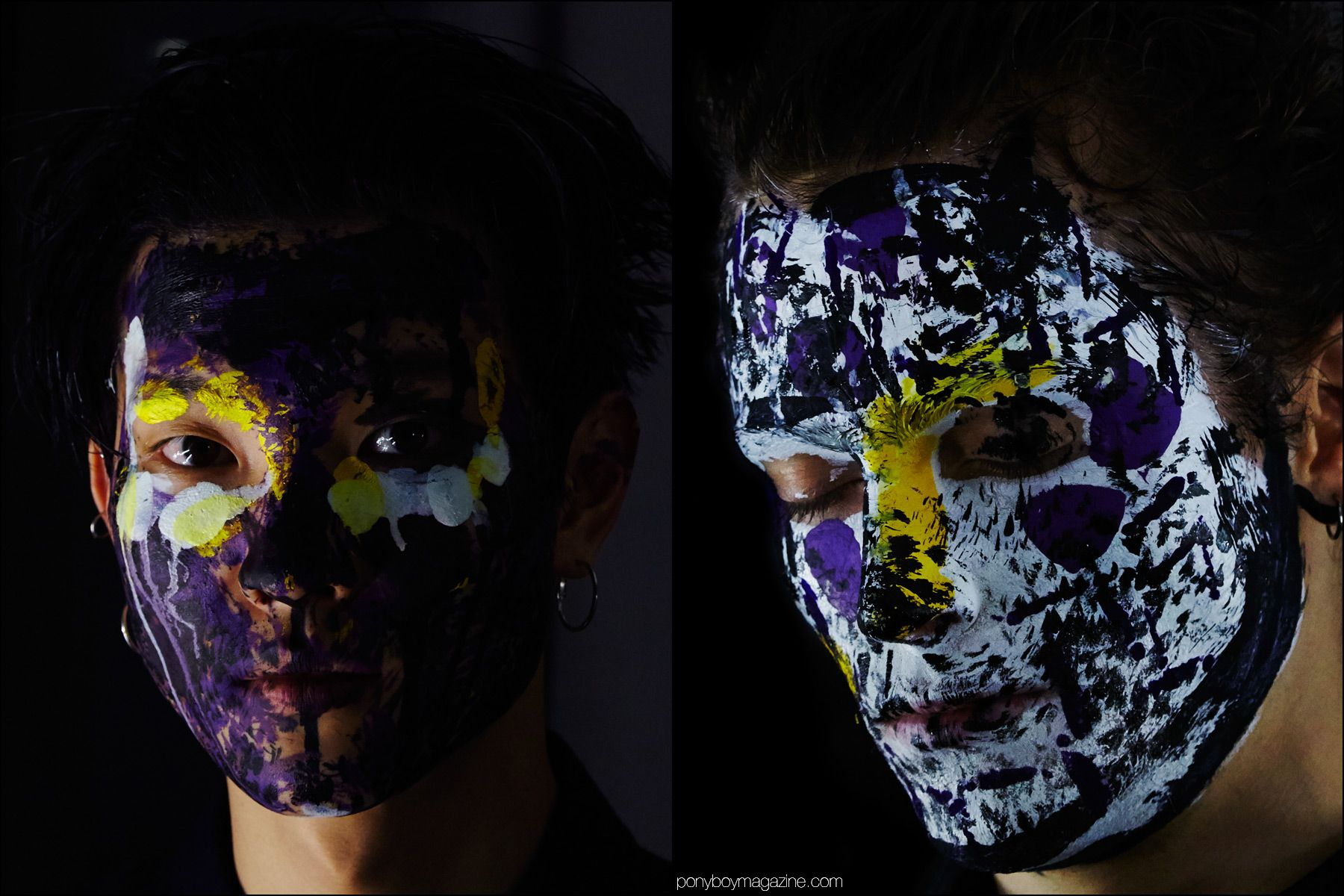 Male models in theatrical paint splattered makeup, photographed backstage at Siki Im + Den Im F/W16 menswear show. Photography by Alexander Thompson for Ponyboy magazine NY.