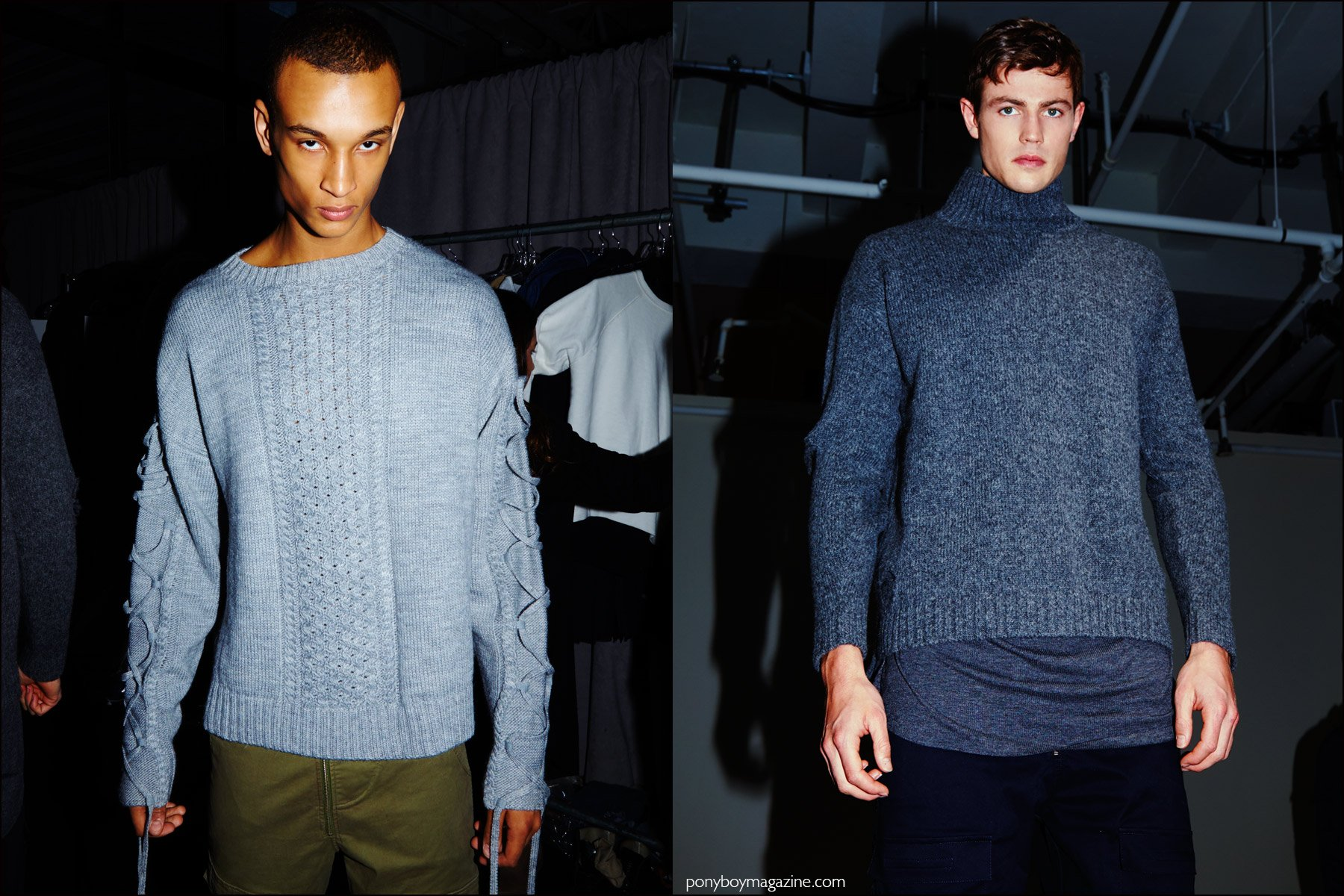 Male models snapped backstage in sweaters from Stampd F/W16 menswear show. Photography by Alexander Thompson for Ponyboy magazine NY.