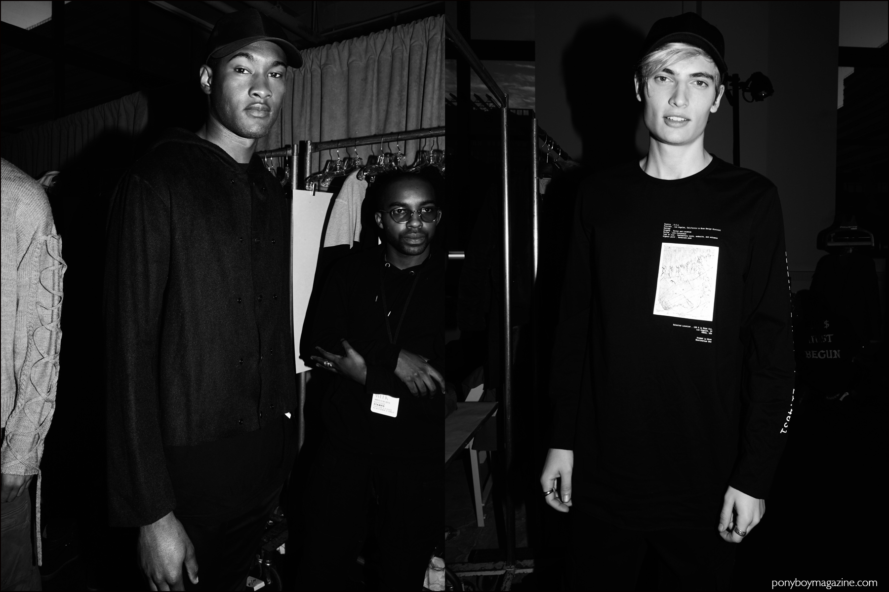 B&W photos of male models backstage at Stampd F/W16 menswear show. Photography by Alexander Thompson for Ponyboy magazine NY.