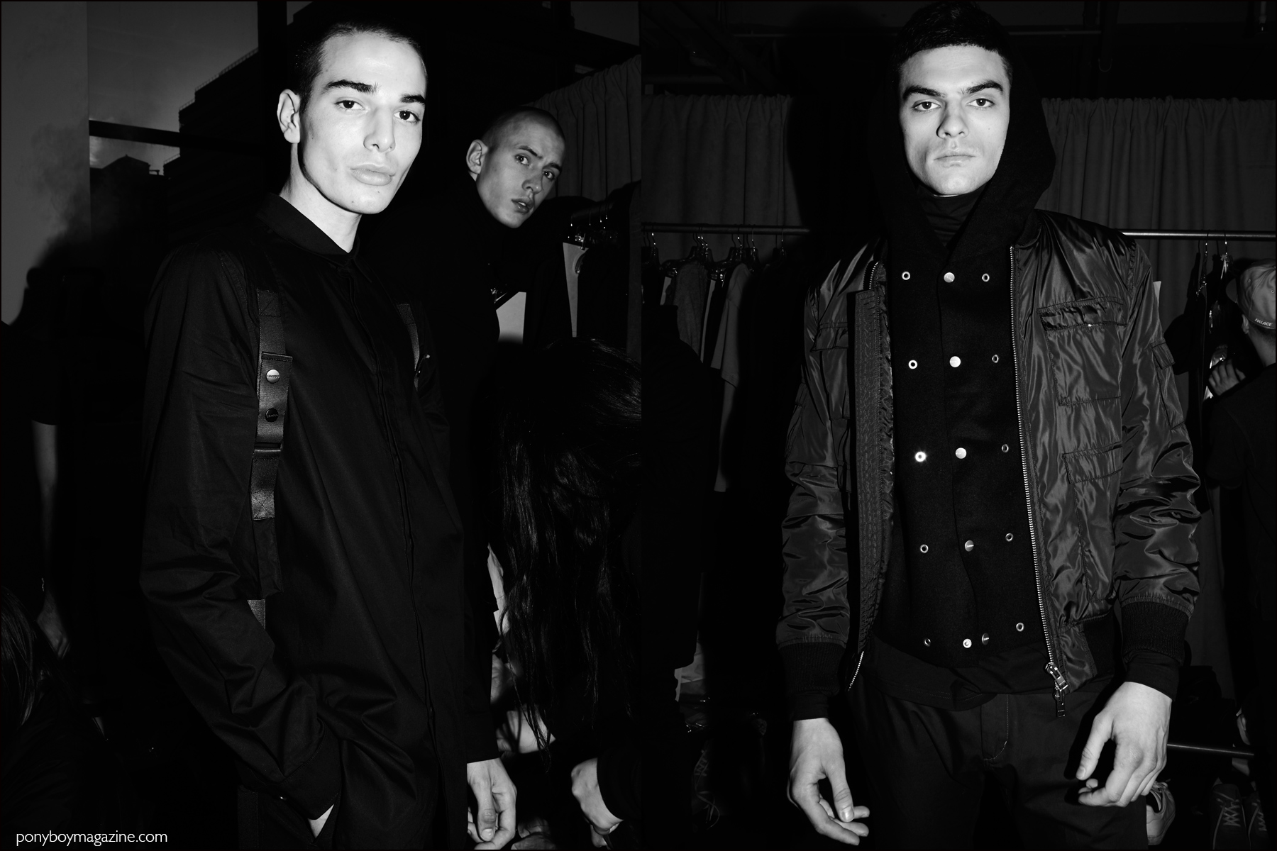 Black and white photos of male models backstage at Stampd F/W16 menswear show. Photography by Alexander Thompson for Ponyboy magazine NY.