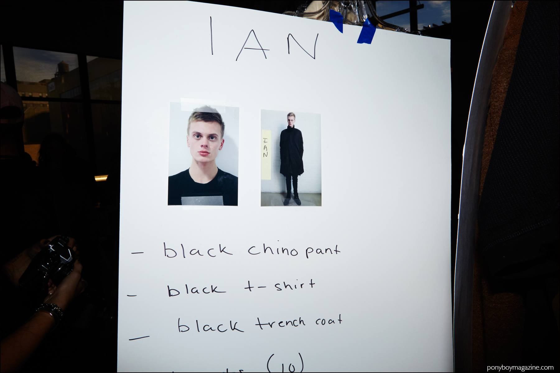 Dressing card for Fusion male model Ian Weglarz, backstage at Stampd menswear show. Photographed by Alexander Thompson for Ponyboy magazine NY.