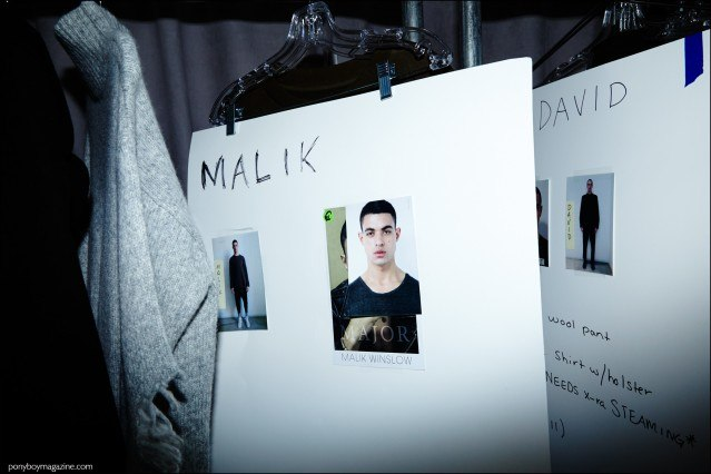Dressing card photographed backstage for male model Malik Winslow with Major Models, Stampd F/W16 menswear. Photograph by Alexander Thompson for Ponyboy magazine.
