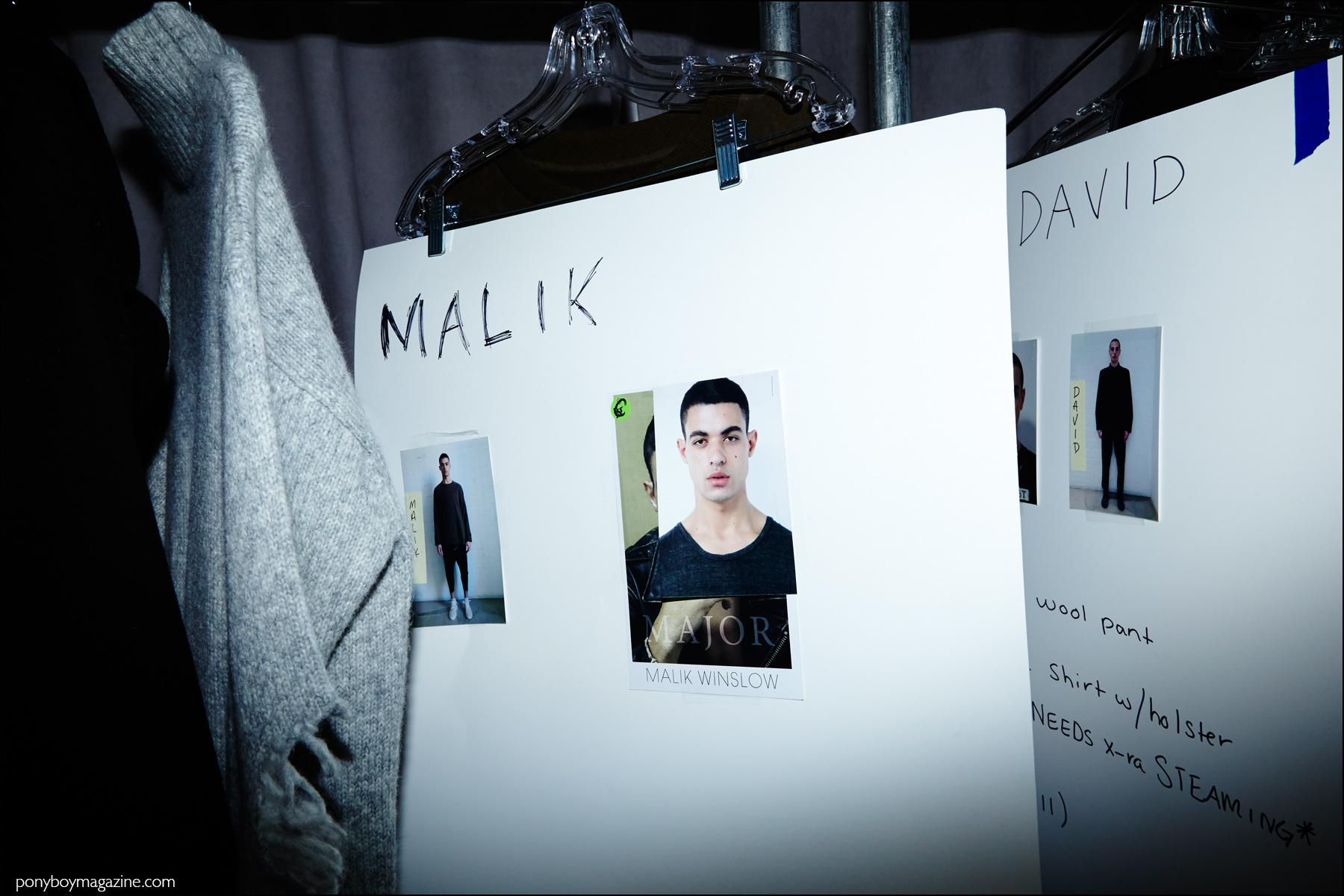 Dressing card photographed backstage for male model Malik Winslow with Major Models, Stampd F/W16 menswear. Photograph by Alexander Thompson for Ponyboy magazine NY.