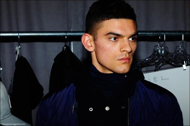Male model Daniel McSweeney photographed backstage at Stampd F/W16 by Alexander Thompson for Ponyboy magazine.