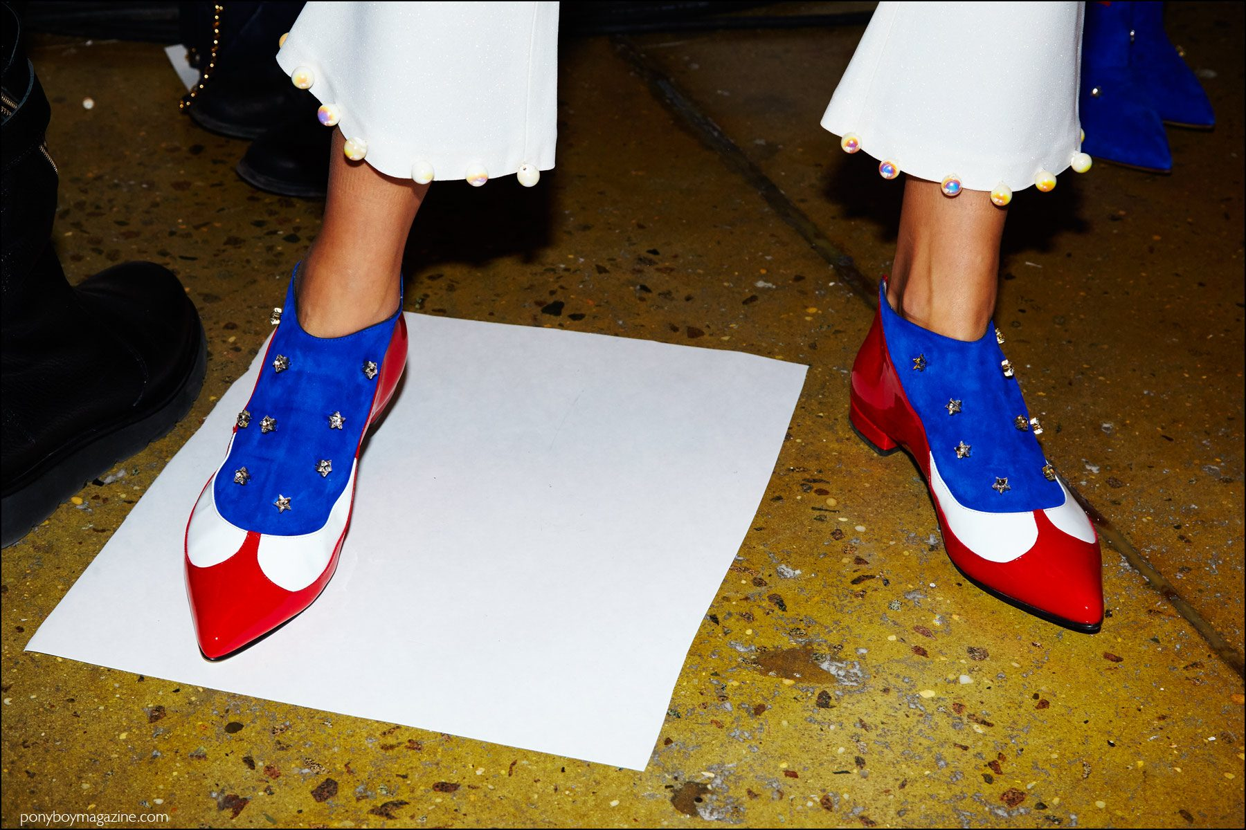 Backstage photo of colorful shoes at the Anna K F/W16 womenswear show. Photography by Alexander Thompson for Ponyboy magazine NY.