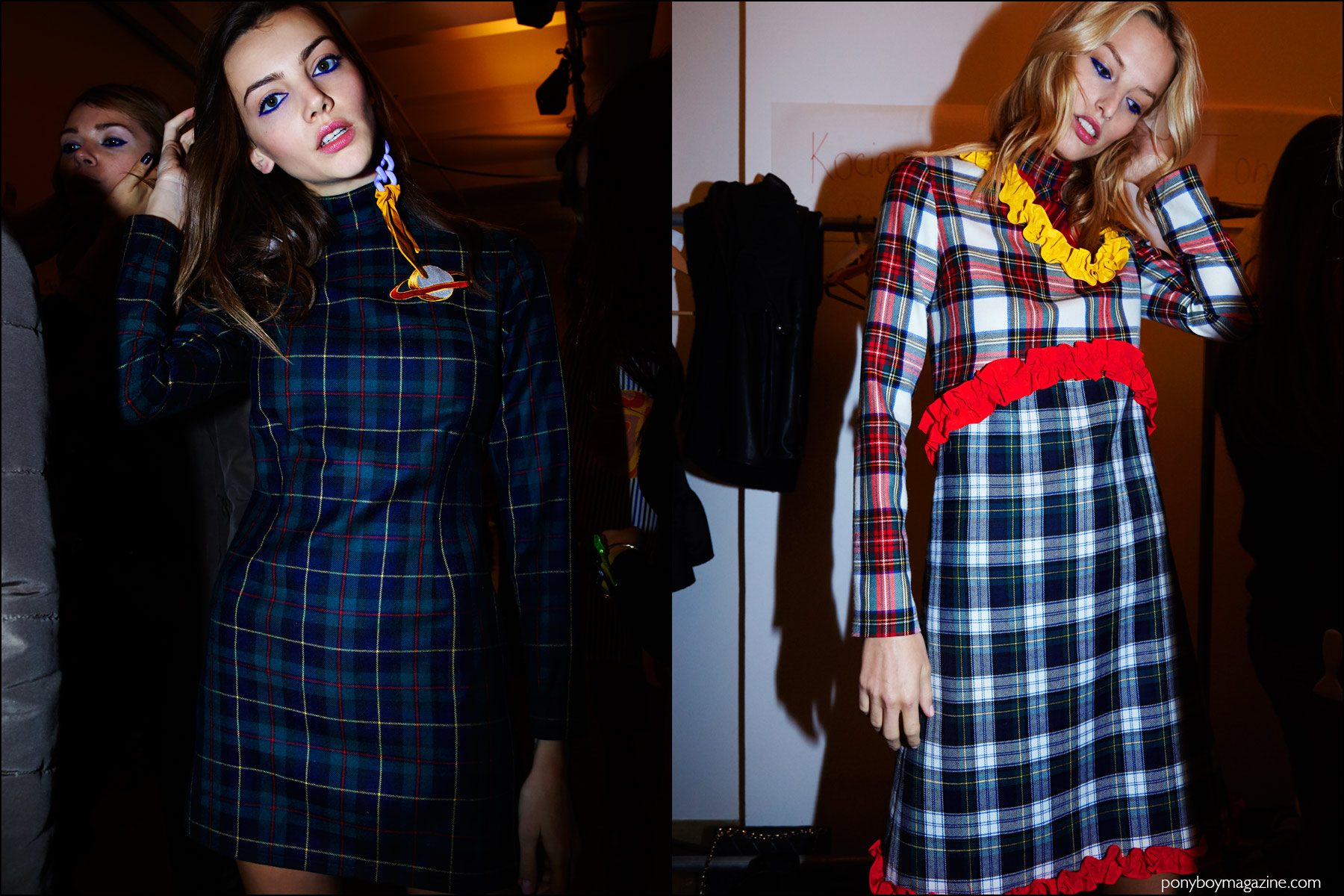 Models in plaid dresses, photographed backstage at the Anna K F/W16 womenswear show. Photography by Alexander Thompson for Ponyboy magazine NY.