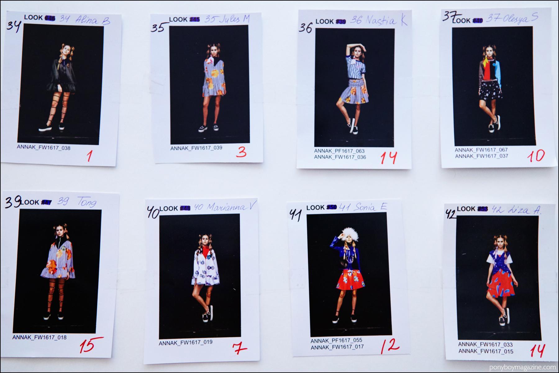 Polaroids of models looks, backstage at Anna K F/W16 womenswear show. Photography by Alexander Thompson for Ponyboy magazine NY.