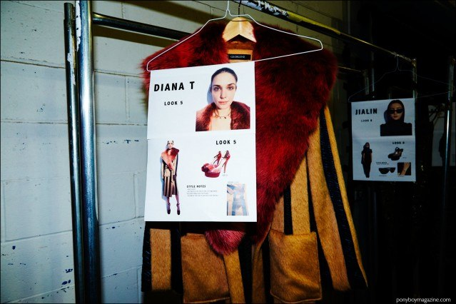 Model's dressing card photographed backstage at Georgine F/W16 womenswear show. Photography by Alexander Thompson for Ponyboy magazine.