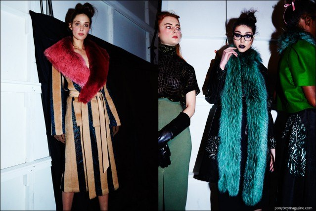 Models in fur photographed backstage at Georgine F/W16 womenswear show. Photography by Alexander Thompson for Ponyboy magazine.