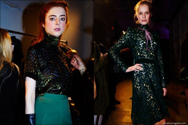 Models snapped backstage in Georgine F/W16 womenswear show by Alexander Thompson for Ponyboy magazine.