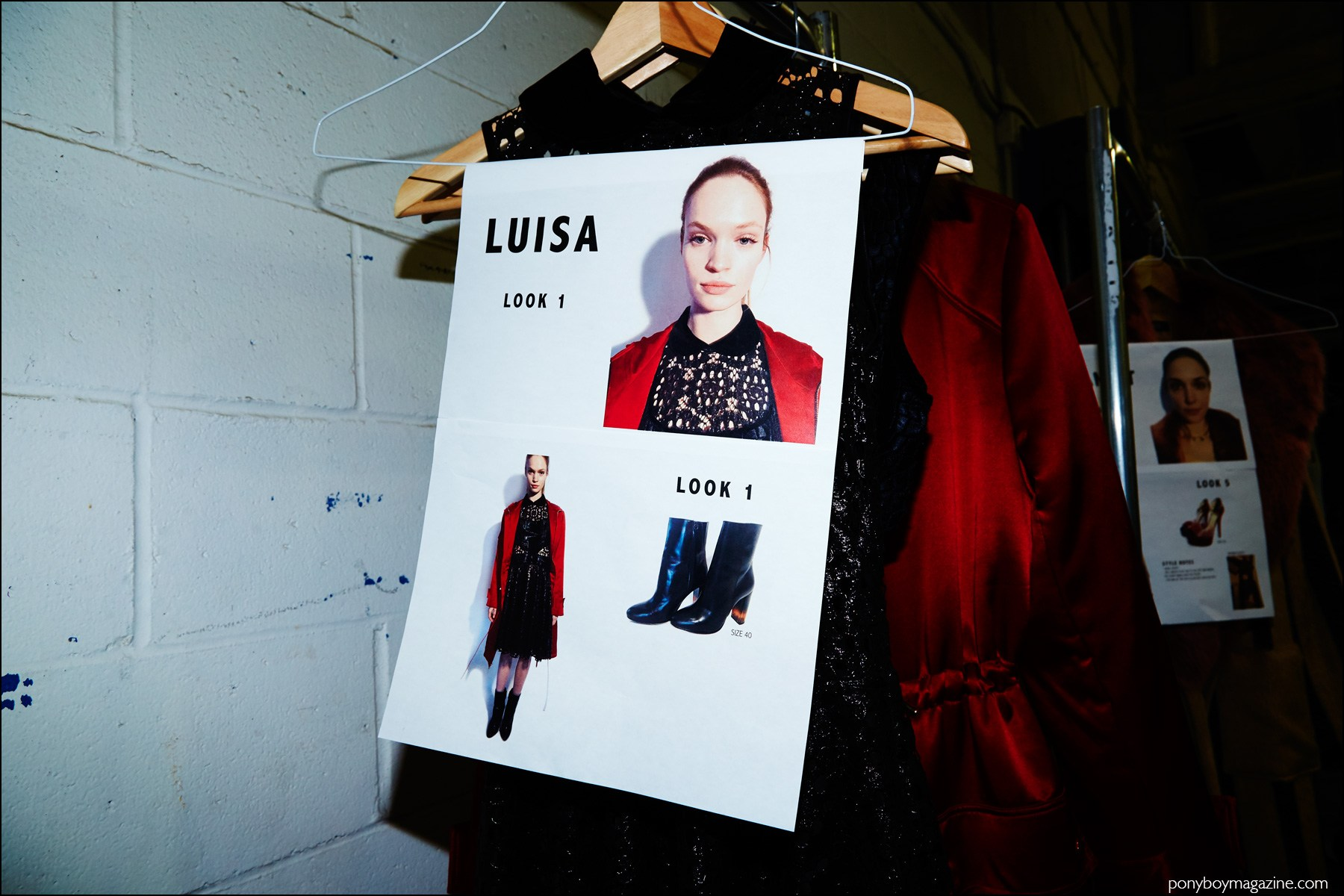 Dressing card for model Luisa Bianchin. Photographed backstage at Georgine F/W16 womenswear show. Photography by Alexander Thompson for Ponyboy magazine NY.